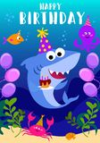 Happy Birthday greeting card with shark, octopus, fish and cartoon sea elements. baby shark birthday greeting card template. Shark vector illustration