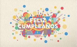 Happy Birthday Greeting Card In Spanish Language Illustration