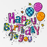 Happy birthday greeting card. Stylish lettering with colorful pattern and balloons. Vector. Royalty Free Stock Photo