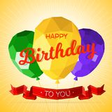 Happy birthday greeting card template with modern low polygonal balloons Royalty Free Illustration