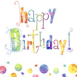 Happy birthday greeting card with text ,drops and stars in bright colors. Birthday background.