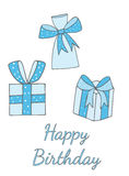 Happy Birthday greeting card with three big gift and text. Vector illustration Royalty Free Stock Images