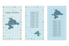 Happy Birthday greeting card. Three different vector patterns. Postcard in blue colors with a blue whale in the ocean. Royalty Free Stock Image