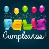 Happy Birthday in Spanish. Happy birthday greeting card translated in Spanish royalty free illustration