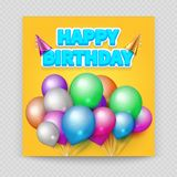 Happy Birthday greeting card vector blank paper balloons