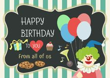 Happy birthday greeting card. Happy birthday vector greeting card with cute clown character Stock Illustration
