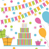 Happy birthday greeting card. Vector illustration Stock Image