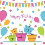 Happy birthday greeting card. Vector illustration Royalty Free Stock Photography