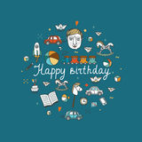 Happy Birthday greeting card - vector illustration. Stock Photos