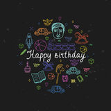 Happy Birthday greeting card - vector illustration. Royalty Free Stock Image