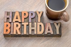 Happy Birthday greetings card in wood type Royalty Free Stock Image