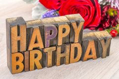 Happy Birthday greetings card in wood type Stock Image
