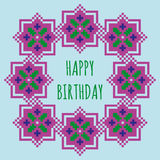 Happy Birthday greeting card with a violet floral frame Stock Photo