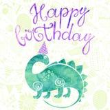 Happy Birthday. Greeting card with a watercolor cartoon dinosaur Stock Image