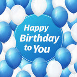 Happy birthday greeting card with white and blue balloons Stock Image