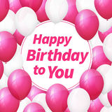 Happy birthday greeting card with white and pink balloons Stock Photo