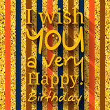 Happy birthday greeting card. Wishing in black circle on golden pattern, texture. Vector. Royalty Free Stock Photos
