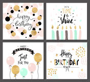 Happy Birthday Greeting Cards And Party Invitation Templates With Lettering Text. Vector Illustration. Hand Drawn Style. Stock Images