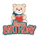 Happy birthday greeting cards with a cheerful teddy bear vector illustration