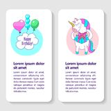 Happy birthday. Greeting cards with cute magic unicorn that holds a gift. There is room for text royalty free illustration