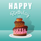 Happy Birthday Greeting Cards Design with Chocolate Cakes. And Candles. Vector illustration stock illustration