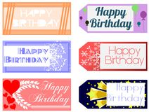 Set of Happy birthday greeting cards. Illustration representing a set of happy birthday greeting cards Royalty Free Stock Photos