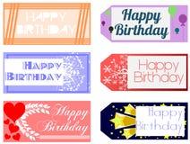 Set of Happy birthday greeting cards Royalty Free Stock Photos
