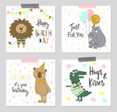 Happy birthday greeting cards and party invitation templates with cute animals. vector illustration