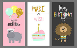 Happy birthday greeting cards and party invitation templates with cute animals Stock Image