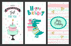 Happy birthday greeting cards and party invitation templates .Vector illustration. Royalty Free Stock Images