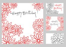 Happy birthday greeting cards set. Happy birthday greetings cards set with hand drawn flowers royalty free illustration
