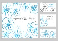 Happy birthday greeting cards set. Happy birthday greetings cards set with hand drawn flowers stock illustration