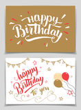 Happy Birthday greeting cards. Set. Brush calligraphy Stock Images