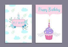 Happy Birthday greeting cards set with unicorn cake and cute unicorn. Vector illustration royalty free illustration