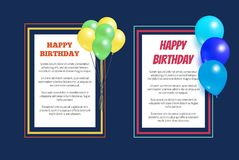 Happy Birthday Greeting Cards Square Frame Balloon. Happy birthday greeting cards with square frames, place for text, decorated by helium balloons Royalty Free Stock Photography