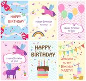 Happy birthday greeting cards templates and party invitations , set of postcards royalty free illustration