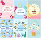 Happy birthday greeting cards templates and party invitations , set of postcards Stock Photos