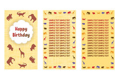 Happy Birthday greeting cards. Three different vector patterns in style of a Safari. Card in yellow orange tones with wild animals Royalty Free Stock Photos