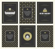 Happy Birthday greeting cards typographic design set vector illustration. Vintage birthday badge or label with wish message and pattern backgrounds royalty free illustration