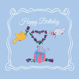 Happy Birthday Greeting. Decorative background with illustration of gifts and birds stock illustration