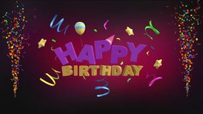 Happy birthday greeting on a red-purple background in 3D stock illustration