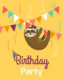 Happy Birthday greeting templates. Invitation cards to the party. Vector banner with cute small sloth.  royalty free illustration