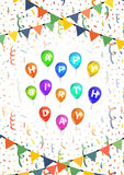 Happy birthday greetings background with balloons, buntings garlands and confetti on white Royalty Free Stock Photos