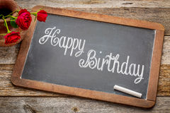Happy Birthday greetings on blackboard Stock Photos