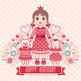 Happy birthday - greetings card for girl . Stock Photography