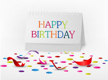 Happy birthday greetings card with note paper Stock Photo