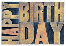 Happy birthday greetings card in wood type Royalty Free Stock Photos