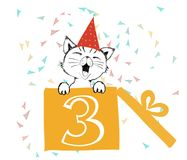 Happy Birthday greetings cards hand drawn with a cute cat created with black ink pens for loving party. Vector Illustration isolated on white background royalty free illustration