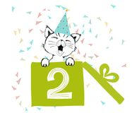 Happy Birthday greetings cards hand drawn with a cute cat created with black ink pens for loving party. Vector Illustration isolated on white background vector illustration