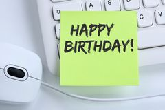 Happy Birthday greetings celebration business concept mouse. Computer keyboard stock photography